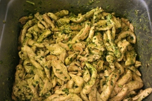 Grilled chicken strips and pesto