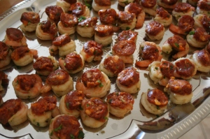 Prawn and chorizo canapes