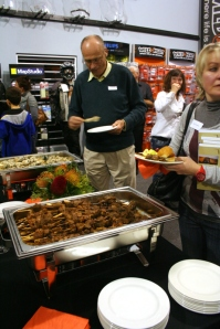 Guests enjoy lamb and chicken kebabs
